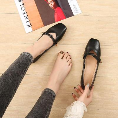 Summer New Flat Driving Shoes Square Toe Fashion Simple Student Shoe Women Low-heeled Casual Large Size Women's Shoes YX0008