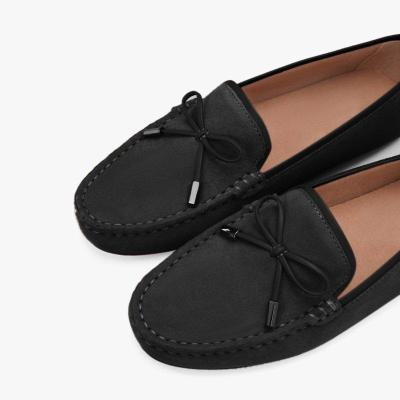 Bowknot Suede Flat Heel Loafers& Flats