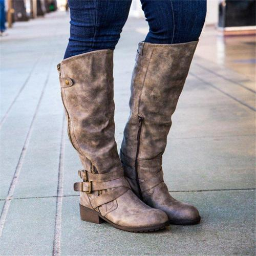 Women Casual Low Heel Daily Faux Leather Boots