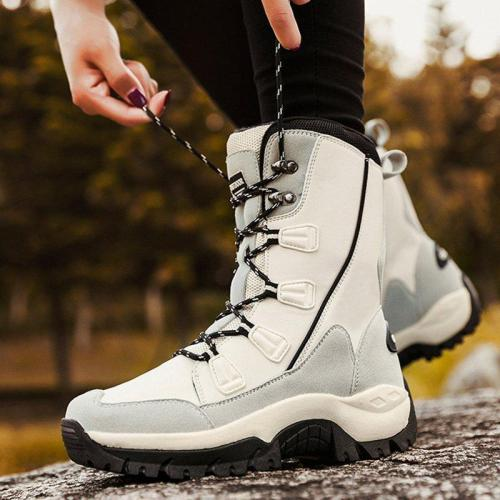 Women Waterproof Warm Snow Boots Lace-Up Pu Winter Flat Heel Shoes