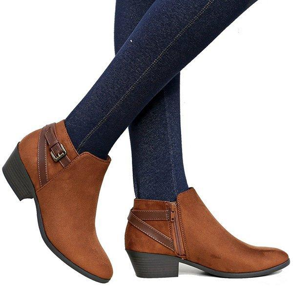 Women Ankle Plus Size Casual Booties Zipper Comfort Shoes