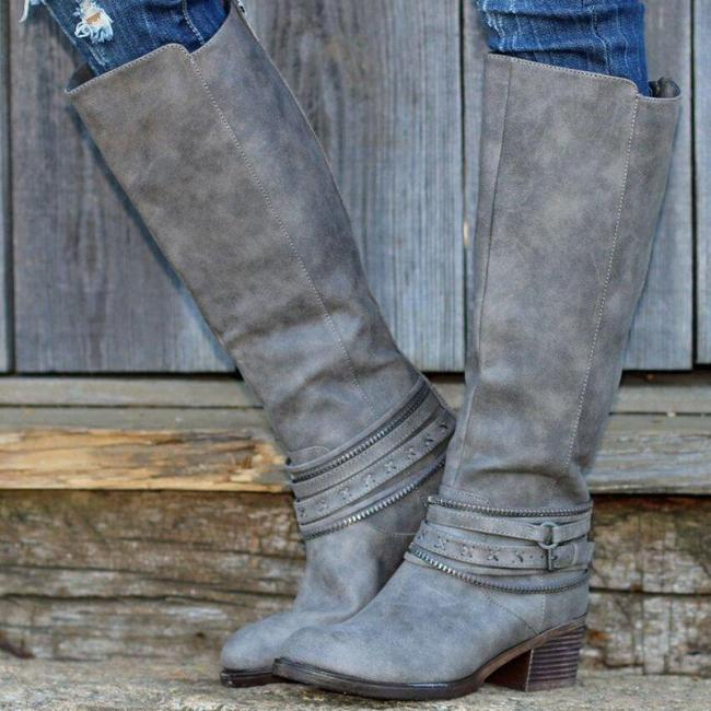 Chunky Heel Back Zipper Riding Knee Boots