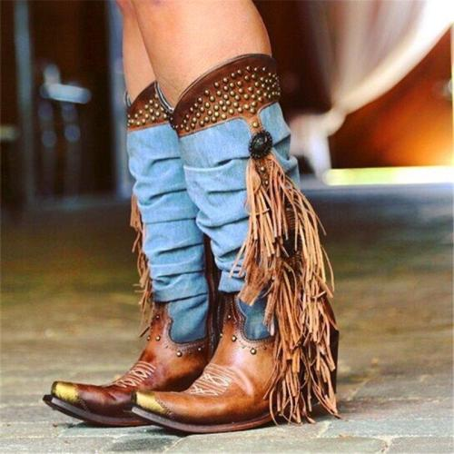 Women's Western Boots Denim Fringe Studs Conchos