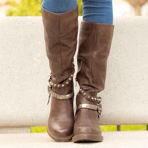 Buckle Strap Chunky Heel Rivet Womens Casual Boots