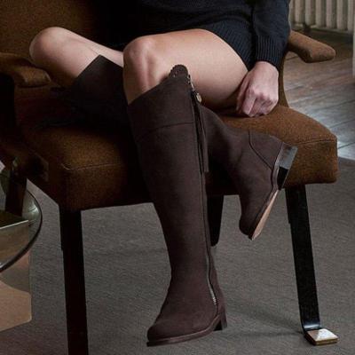 Plus Size Low Heel Tassel Zipper Knee-High Boots