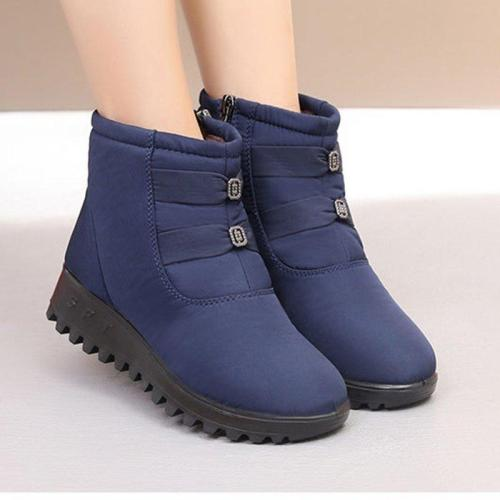 Women Solid Fur Lined Flat Heel Winter Zipper SnowBoots