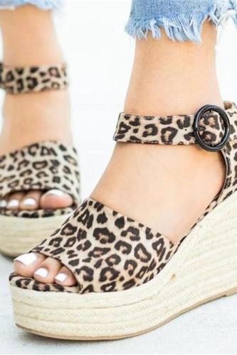 Fashion Casual Leopard Platform   Wedge Sandals