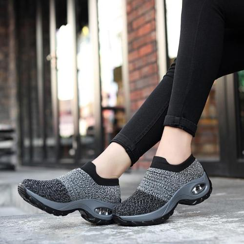 cuteshoeswearWomen Casual Shoes Fashion Women Sneakers Summer Breathable Mesh Air Cushion Walking Shoes Lace Up Flat Shoes Plus Size 35-42