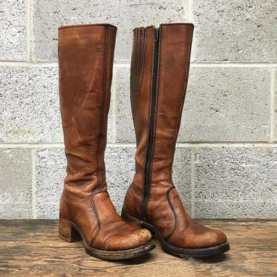 Vintage Chunky Artificial Leather Zipper Knee-High Boots
