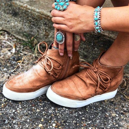 Wedge Heel Side Zipper Lace Up Suede Sneakers