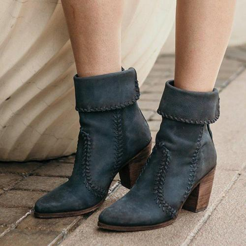 Fashion Deep Blue Chunky Heel Women's Zipper Boots