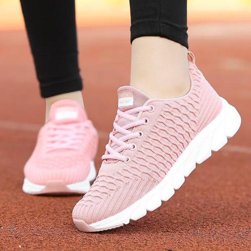 2020 autumn sneakers women casual shoes woman flying woven women shoes solid color lace-up women sports shoes plus size