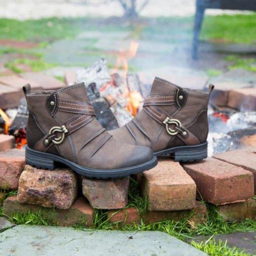 Side Zipper Chunky Heel All Season Ankle Boots