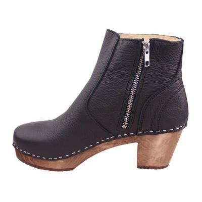 Side Zipper Clog Heel Ankle Boots