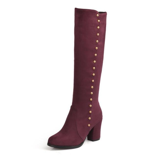Studded Knee High Boots Chunky High Heels Shoes for Woman 1372