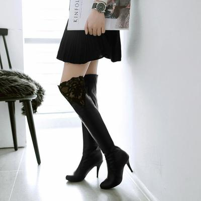 Lace High Heels Over the Knee Boots Thin Heel for Women 9630