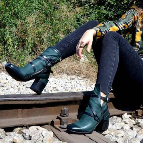 Chunky Heel Casual Vintage Boots
