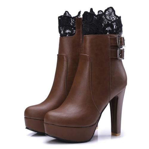 Lace Platform High Heels Short Boots Plus Size Women Shoes 6041