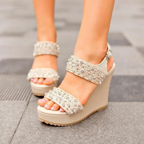 Wedge Heel Shiny Sandals Women Buckle Platform Shoes
