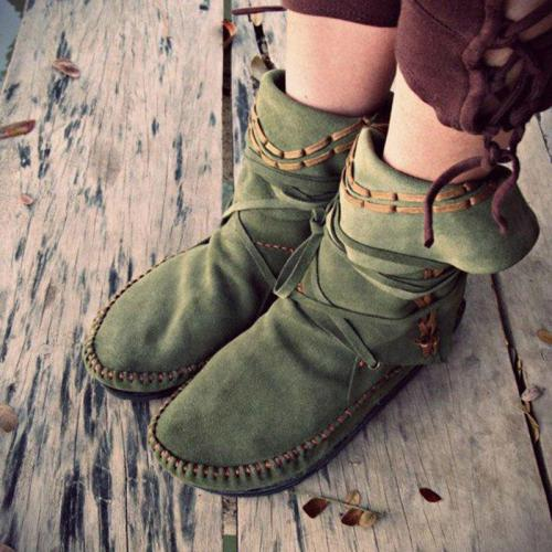 Strappy Artificial Leather Flat Heel Boots Comfortable Womens Flat Boots