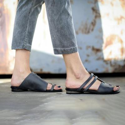 Women PU Sandals Casual Slip On Plus Size Shoes