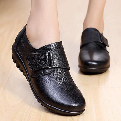 Genuine leather women flat shoes Comfortable 2019 Spring/Autumn Oxfords Hook Loop Ladies leather shoe Large size 35-43
