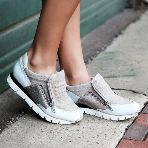Women Slide Round Toe Casual All Season Zipper Sneakers