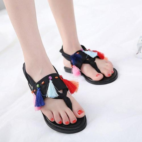 Tassel Daily Pu Flat Heel Summer Sandals