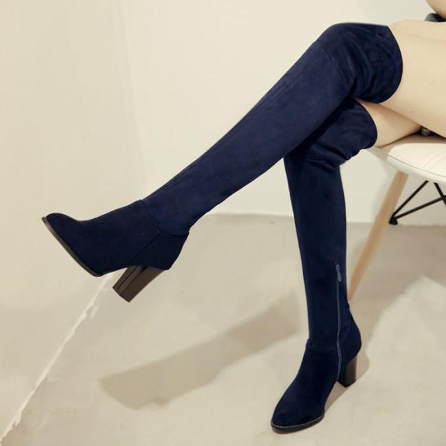 Elastic Flock Thigh High Boots High Heels Shoes for Woman 6262