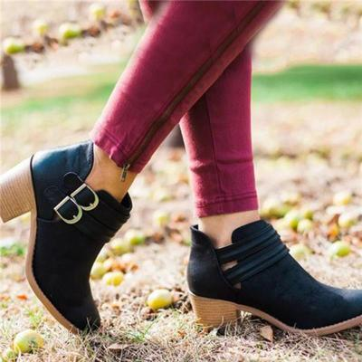 Fashion Women Retro PU Booties Adjustable Buckle Middle Heels Ankle Boots