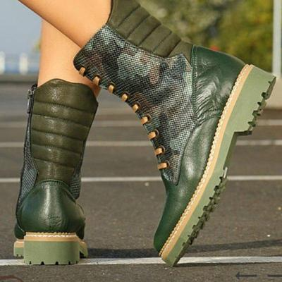 Womens's Green Low Heel Lace Up Artificial Leather Boots