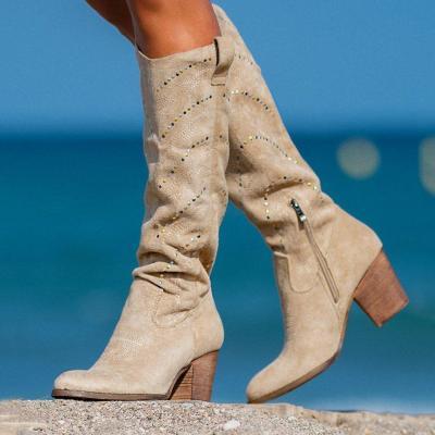 Suede Chunky Heel Rhinestone Boots