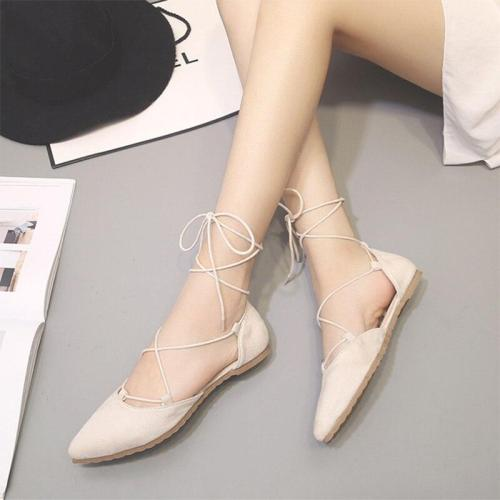 Women Spring Pointed Toe Flats Shoes Casual Flock Cross Tie Fashion Woman Single Shoes Comfortable Soft Ladies Shallow Footwear