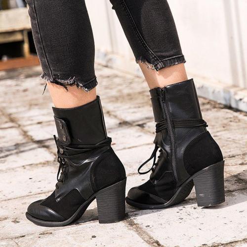Black Closed Toe Women Chunky Heel Med (3-8Cm) Boots