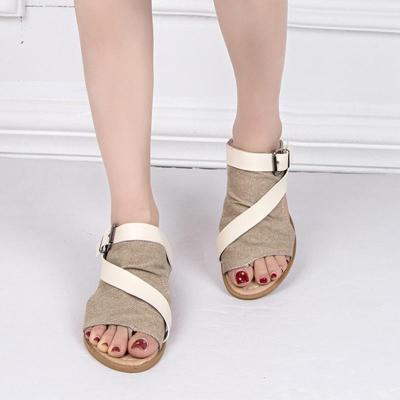 Plus Size Adjustable Buckle Slide Sandals