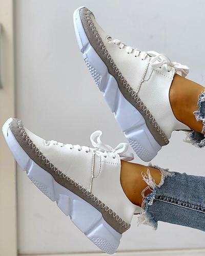 Contrast Stitch Lace-Up Muffin Sneakers