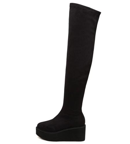 Velvet Side Zip Platform Thigh High Boots Wedge Heels 7501