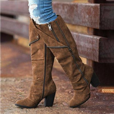 Women Round Toe Zipper Artificial Suede Chunky Heel Casual Knee Boots