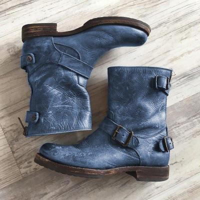 Mid-Calf Artificial Leather Womens Buckle Strap Low Heel Boots