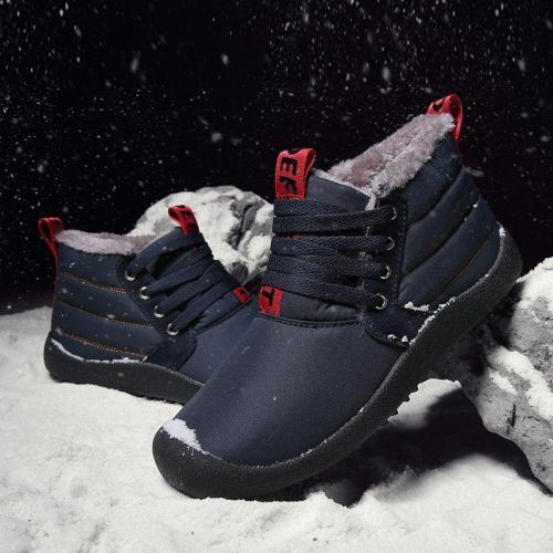 Unisex Casual Lace-Up Waterproof Snow Boots