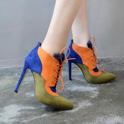 Pointed Toe Rabbit Fur Lace Up Stiletto Heel Ankle Boots 2740