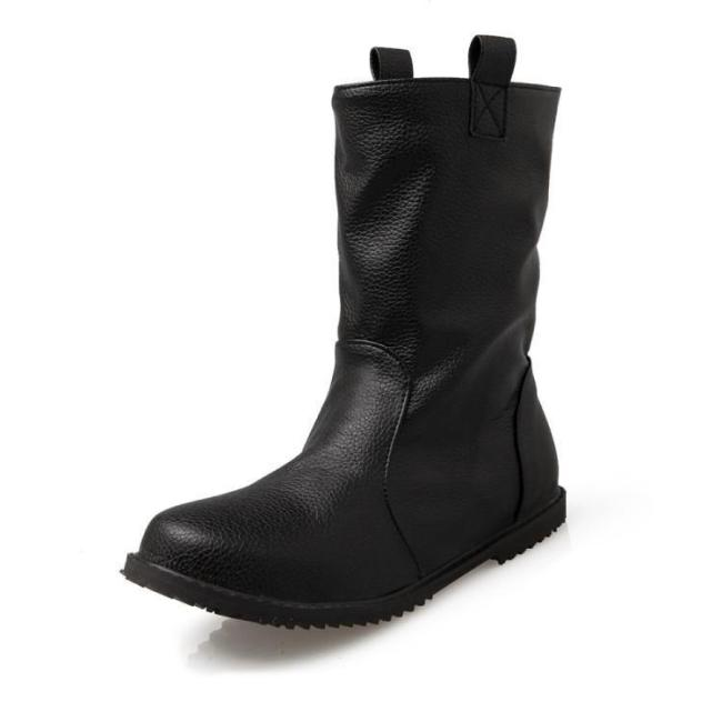 Women's Soft Leather Ankle Boots Flats Shoes Autumn and Winter 6389