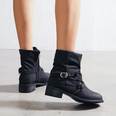 Side Zipper Chunky Heel Round Toe Ankle Boots