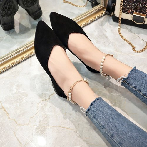 YOUYEDIAN 2019 Spring Ladies Flat Shoes Pearls String Bead Casual Women Shoes Female Flat Boat Shoes Chaussures Femme