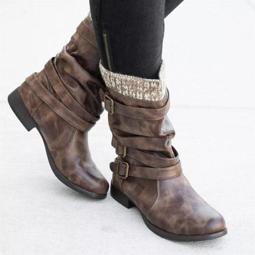Women's stitching retro boots