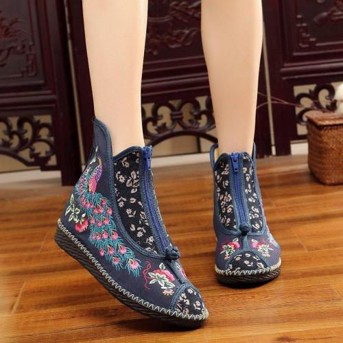 Women's canvas vintage cozy floral embroidery zipper boots