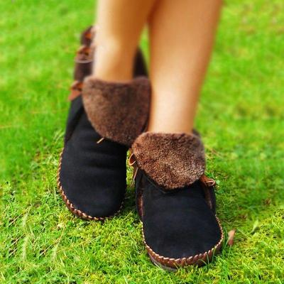 Low Heel Artificial Leather Slip-On Snow Boots Casual Winter Shoes