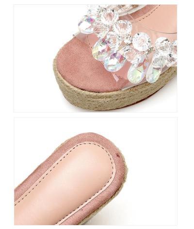 2019 Summer Women Wedge Sandals Rhinestone High Heels Platform Shoes Fashion Young Ladies Sandals Wedge Heel 10cm A1338