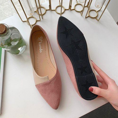 2021 Flat Shoes Women Sweet Flats Shallow Women Boat Shoes Slip On Ladies Loafers Spring Women Flats Pink