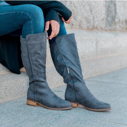 Women Round Toe Artificial Suede Zipper Winter Chunky Heel Mid-Calf Boots